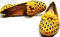 Удобные туфли для офиса закрытые босоножки без каблука женские Phany 103-28 Yellow.