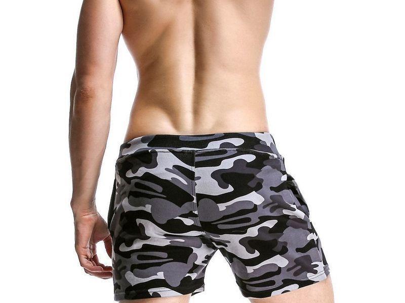Мужские спортивные шорты серые камуфляжные Seobean