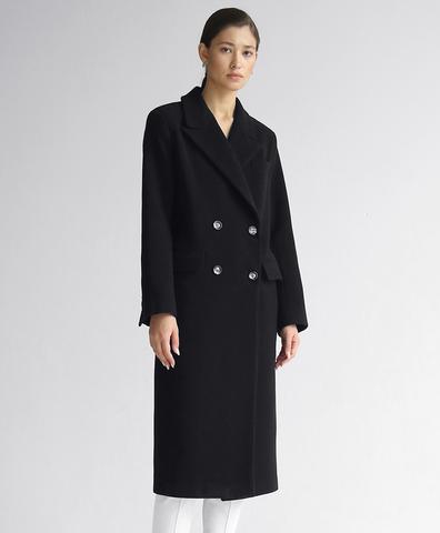 Шерстяное черное пальто прямого кроя