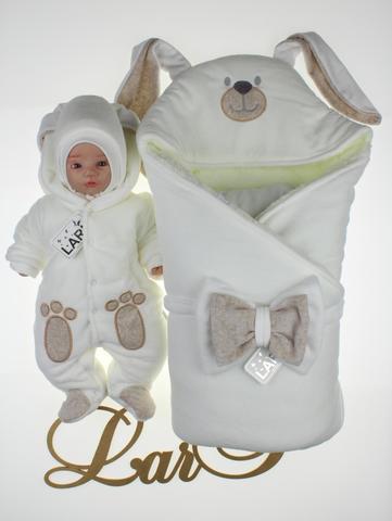 Зимний набор на выписку новорожденных Зайка  (молочный)