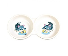 Trixie миска керамичечкая двойная Голубой котенок 2х150мл