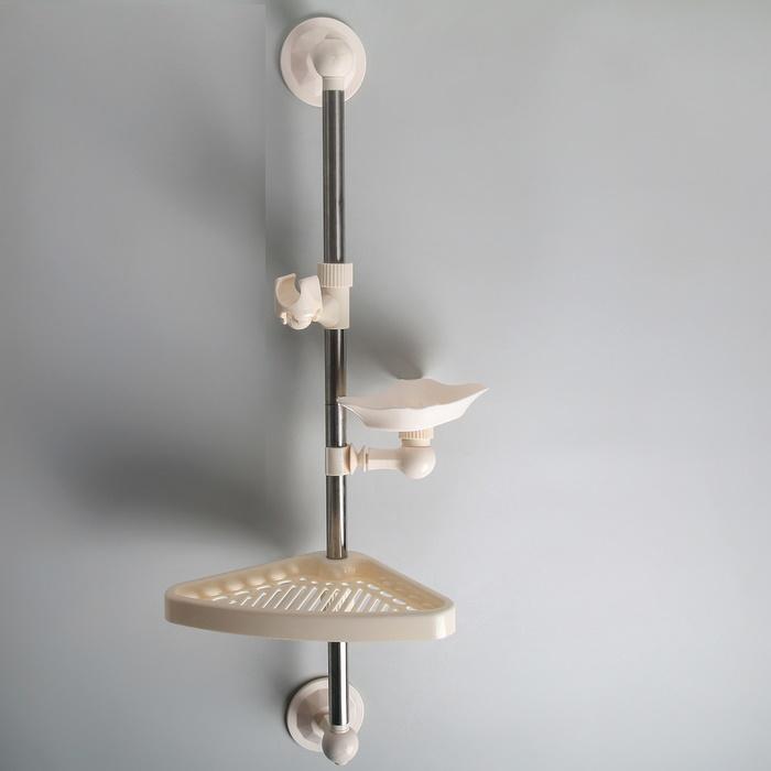 Полка универсальная, (мыльница, полочка, держатель для душа), на вакуумной присоске, 65 см фото