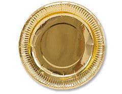 Тарелка фольгированная золотая 17 см, 6 шт.