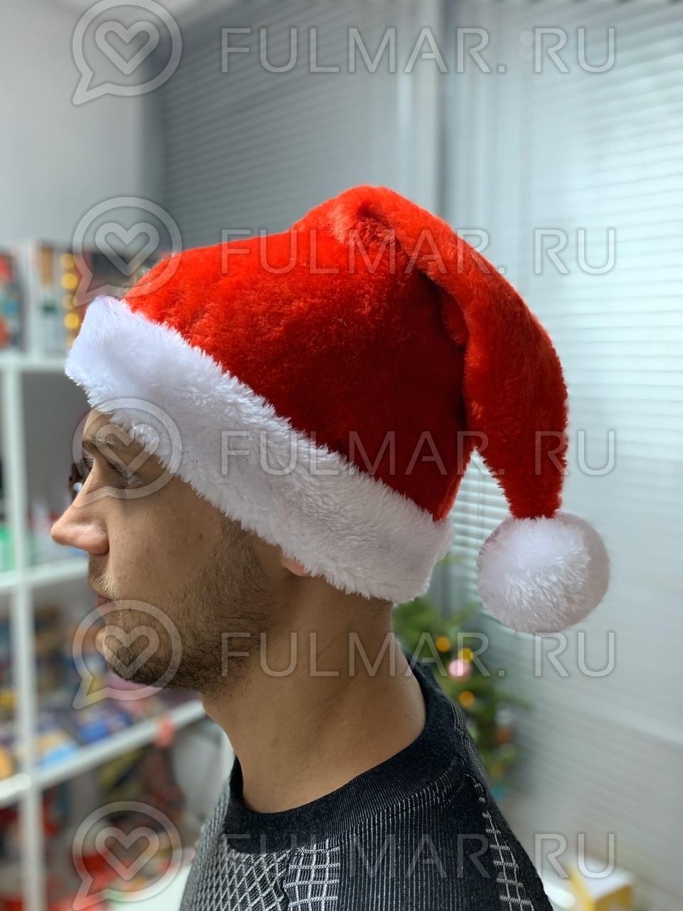 Новогодний колпак-шапка (Цвет: тёмно Красный) фото