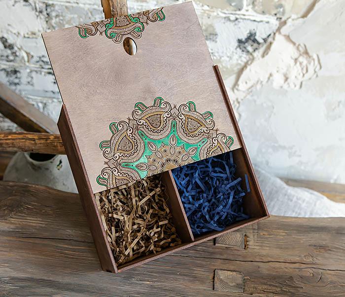 BOX234-3 Подарочная коробка «Мандала» с ручной росписью (25*25*12 см) фото 06