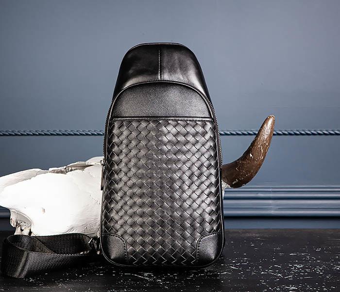 BAG537-1 «Плетеная» кожаная сумка через одно плечо фото 05