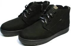 Модные черные ботинки на шнурках мужские Ikoc 1617-1 WBN.