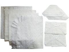 Папитто. Комплект на выписку 8 предметов с пододеяльником кружевным, белый вид 1