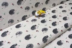 Льняная интерьерная ткань принт ЕЖИКИ
