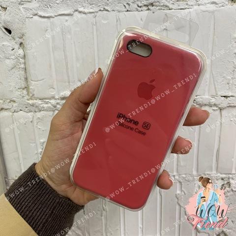 Чехол iPhone 5/5s/SE Silicone Case /camellia/ винный 1:1