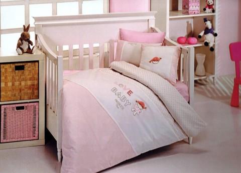 Постельное белье  в кроватку для девочки LOVE BABY- ЛАВ БЭБИ / Maison Dor (Турция)