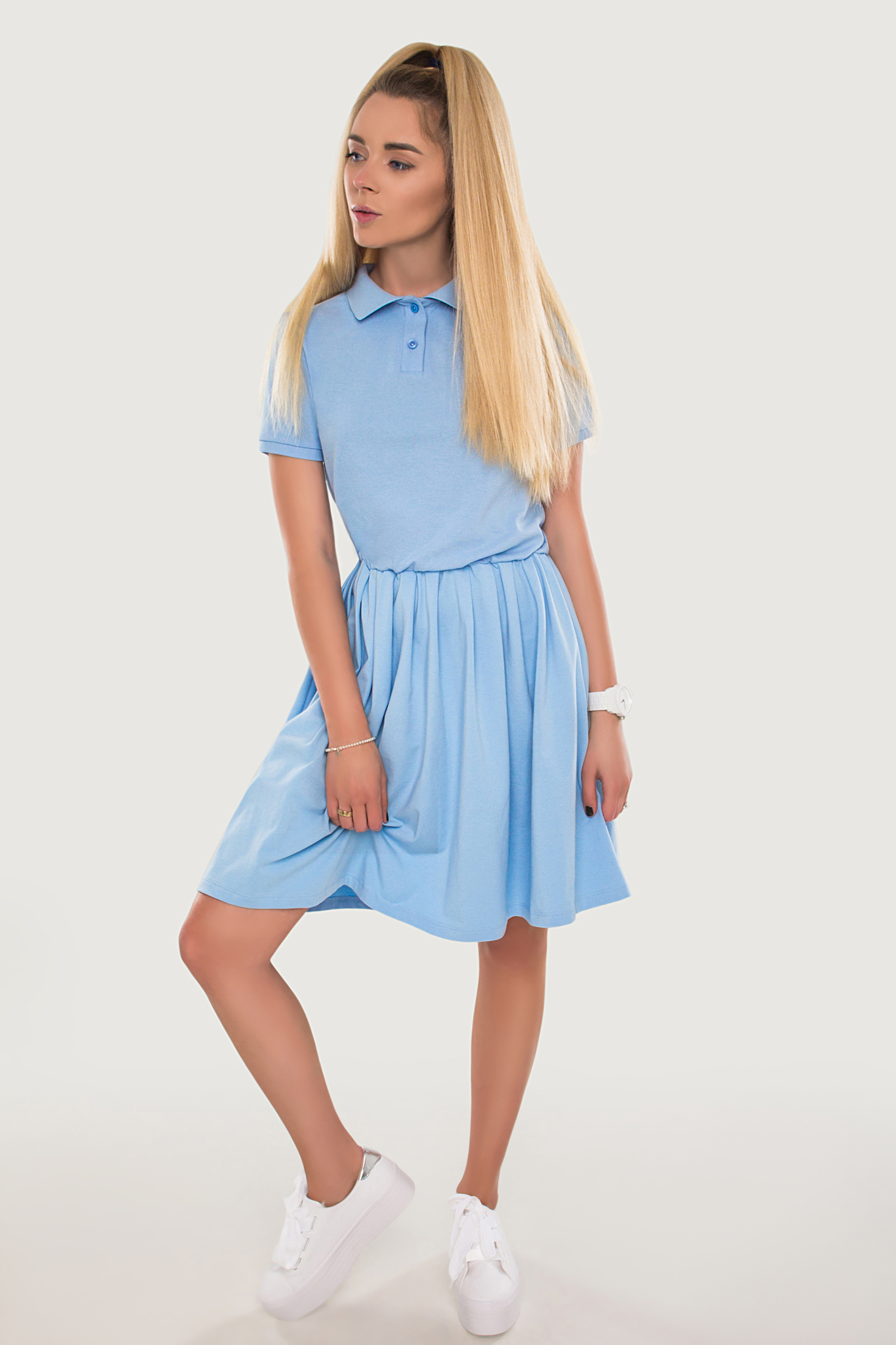 Платье Polo голубое YOS