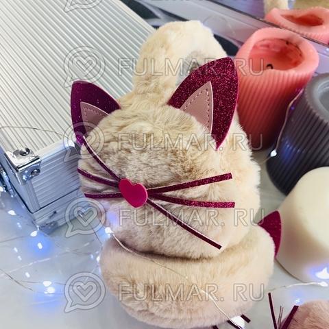Ободок на уши Плюшевый с блёстками Киса-Любимка (цвет: Молочный)