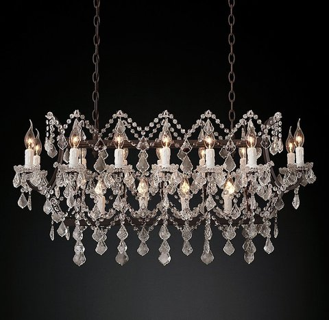 Подвесной светильник копия 19th C. Rococo Iron & Clear Crystal Rectangular Chandelier 39