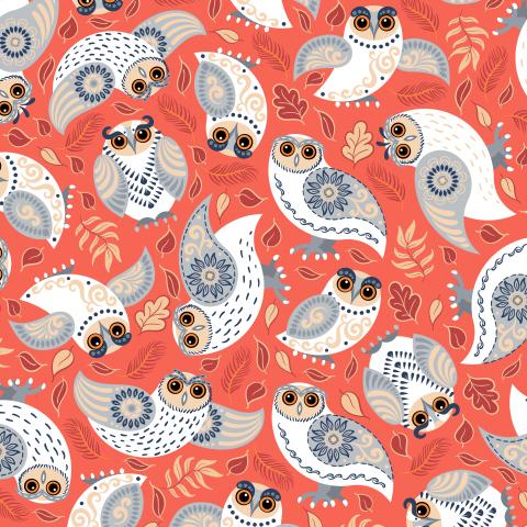 Белые совы на красном фоне. (Дизайн Irina Skaska)