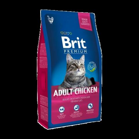 Brit Premium Cat Adult Chicken Сухой корм для кошек с курицей и куриной печенью