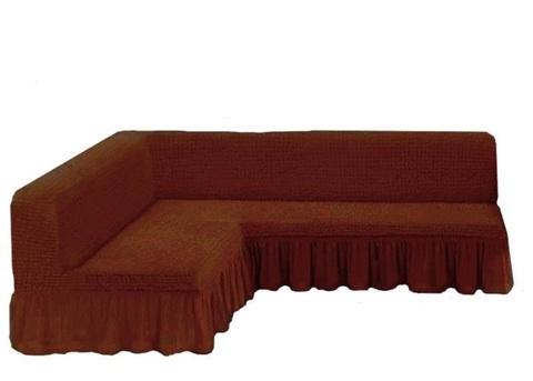 Чехол на угловой диван без подлокотников, коричневый