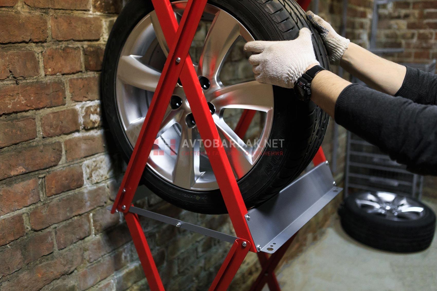 Увеличенный стеллаж для колес верт. (до R22, 320мм)