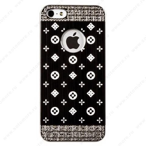 Накладка LV металлическая для iPhone SE/ 5s/ 5C/ 5 серебро черная