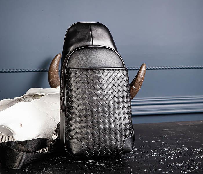 BAG537-1 «Плетеная» кожаная сумка через одно плечо фото 06
