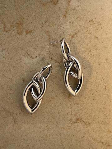 Серьги Лониана, серебряный цвет