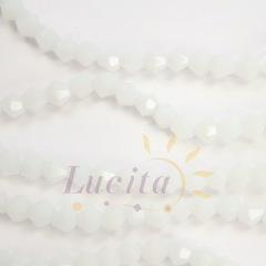Бусина стеклянная, биконус, цвет - белый, 4 мм, нить