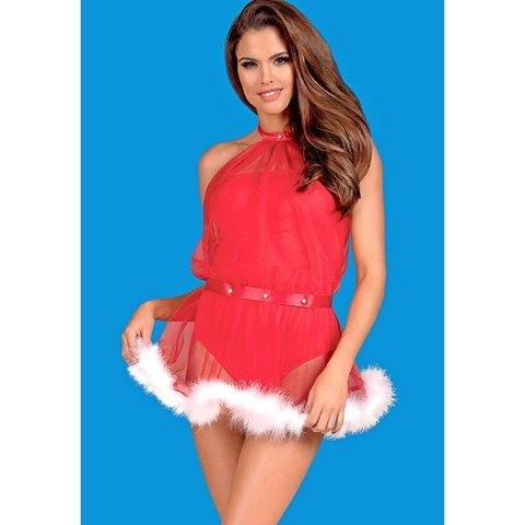 Красное боди-платье Santastic