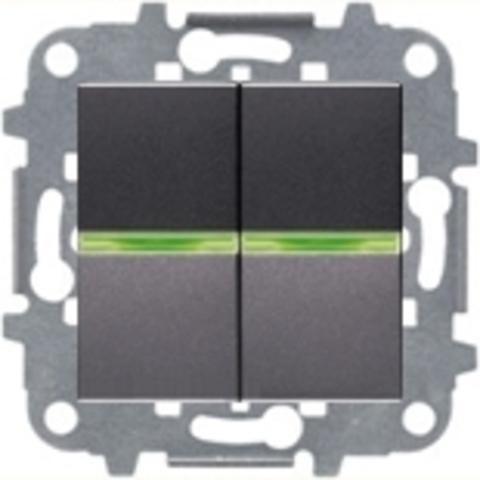 Выключатель двухклавишный с подсветкой. Цвет Антрацит. ABB Niessen Zenit. N2101 AN+N2101 AN+N2271.9+N2191 VD+N2191 VD