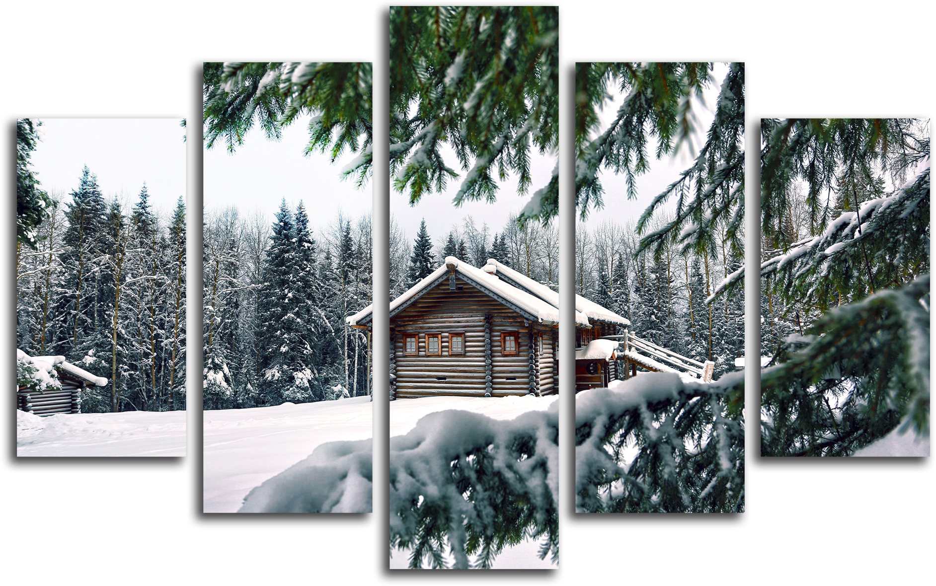 """Природа Модульная картина """"Домик в зимнем лесу"""" М273.png"""