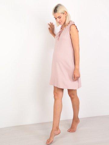 Euromama/Евромама. Сорочка для беременных и кормящих с шелковыми рюшами, сухая роза вид 1