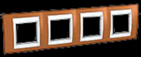 Рамка на 4 поста. Цвет Оранжевый/Бежевый. Schneider electric Unica Хамелеон. MGU6.008.569