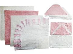 Папитто. Комплект на выписку 8 предметов с пододеяльником кружевным, розовый вид 3