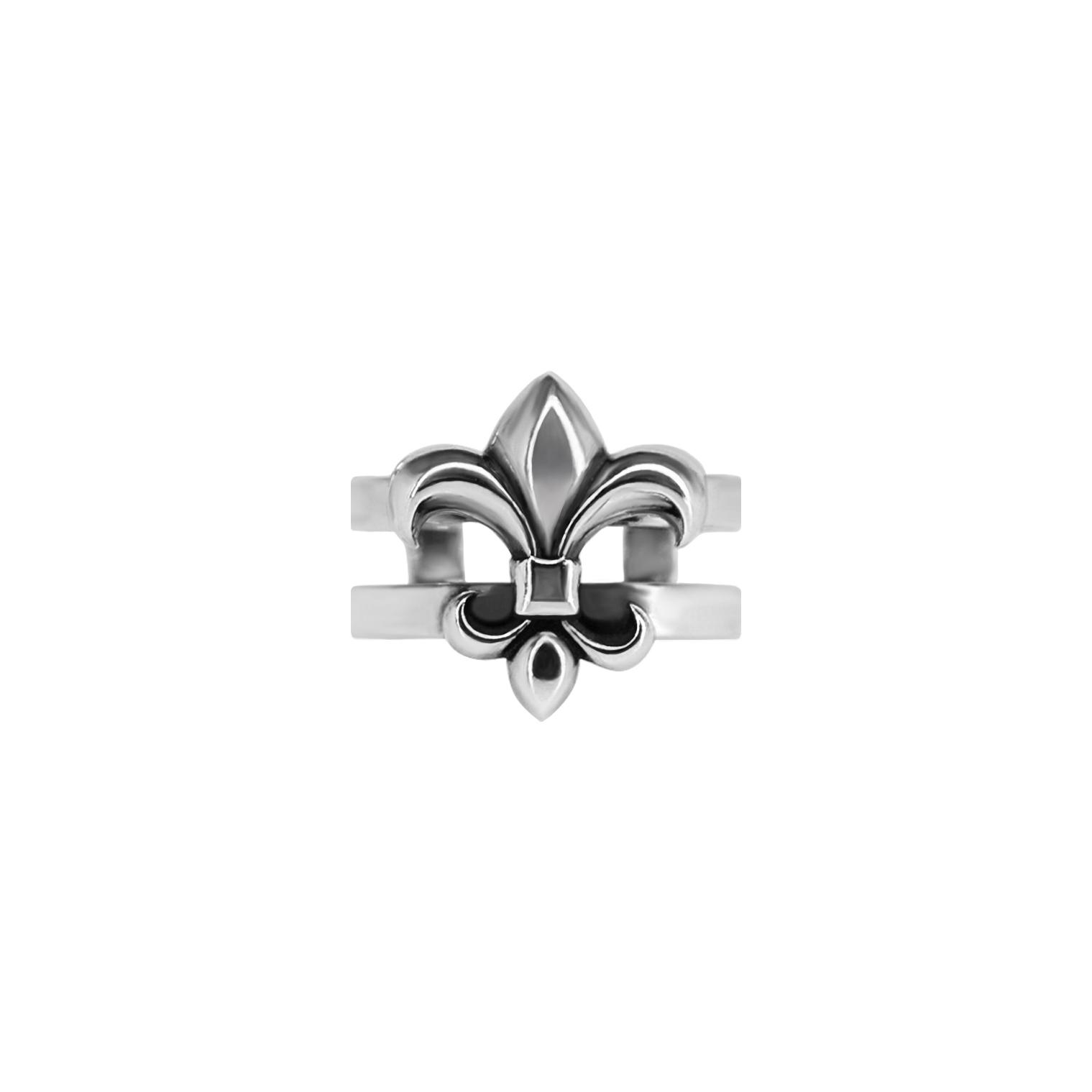 Mid finger ring Fleur de lis, sterling silver