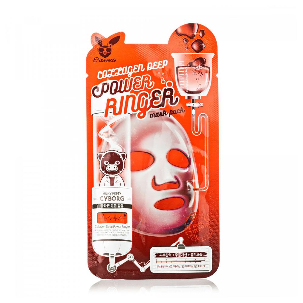Elizavecca Collagen Deep Power Ringer Mask Pack тканевая маска для лица с коллагеном