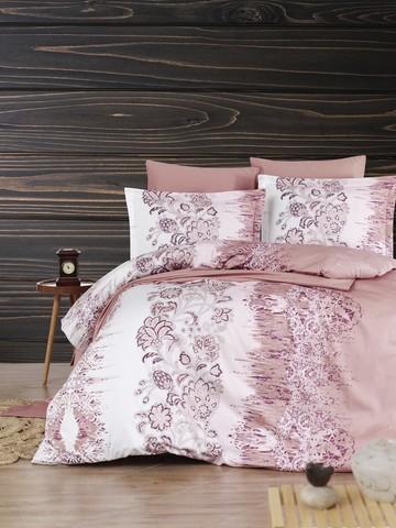 Комплект постельного белья DO&CO Сатин DELUX  VESTA 2 спальный (Евро) цвет брусничный