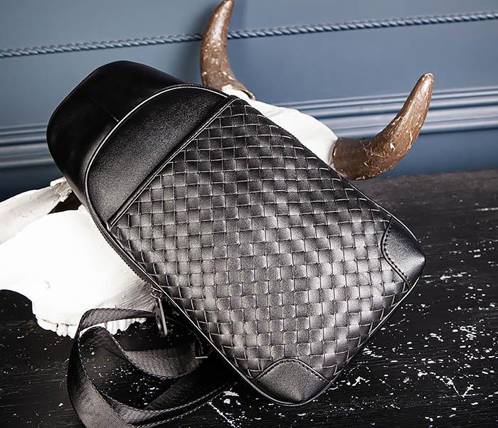 BAG537-1 «Плетеная» кожаная сумка через одно плечо фото 07