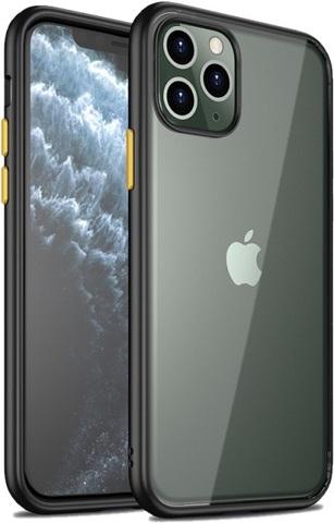 Прозрачный чехол на iPhone 11 Pro Max черные рамки с желтыми кнопками, серии Ultra Hybrid от Caseport