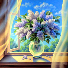 Картина раскраска по номерам 40x50 Букет сирени на открытом окне