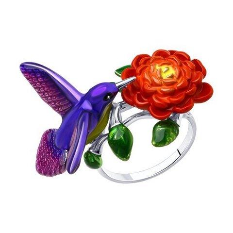 94013152 - Кольцо из серебра с эмалью