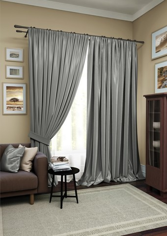 Комплект штор Авери с тюлем темно-серый