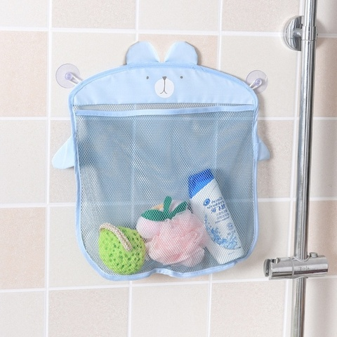 Настенная косметичка на присосках сетка для хранения игрушек в ванной комнате Голубая собака