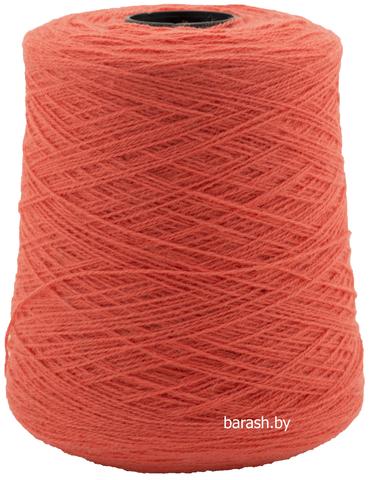 Бобинная пряжа Новозеландская шерсть 100%  (50гр/200м) Цвет: коралл. Цена за 50г