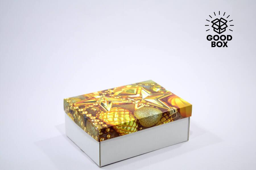Коробка на новый год золото купить в Алматы