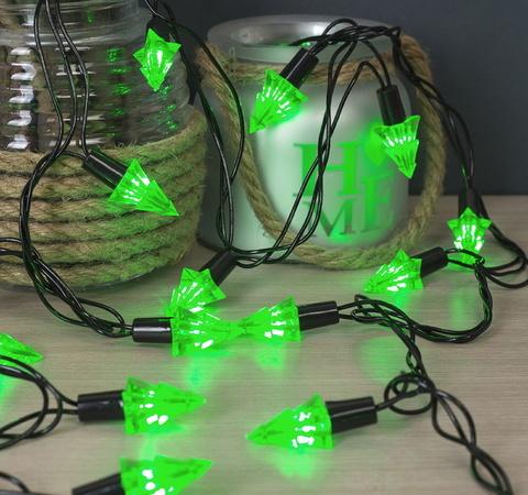 Зеленые ёлки Гирлянда улично-комнатная с насадками  5 метров, 8 режимов