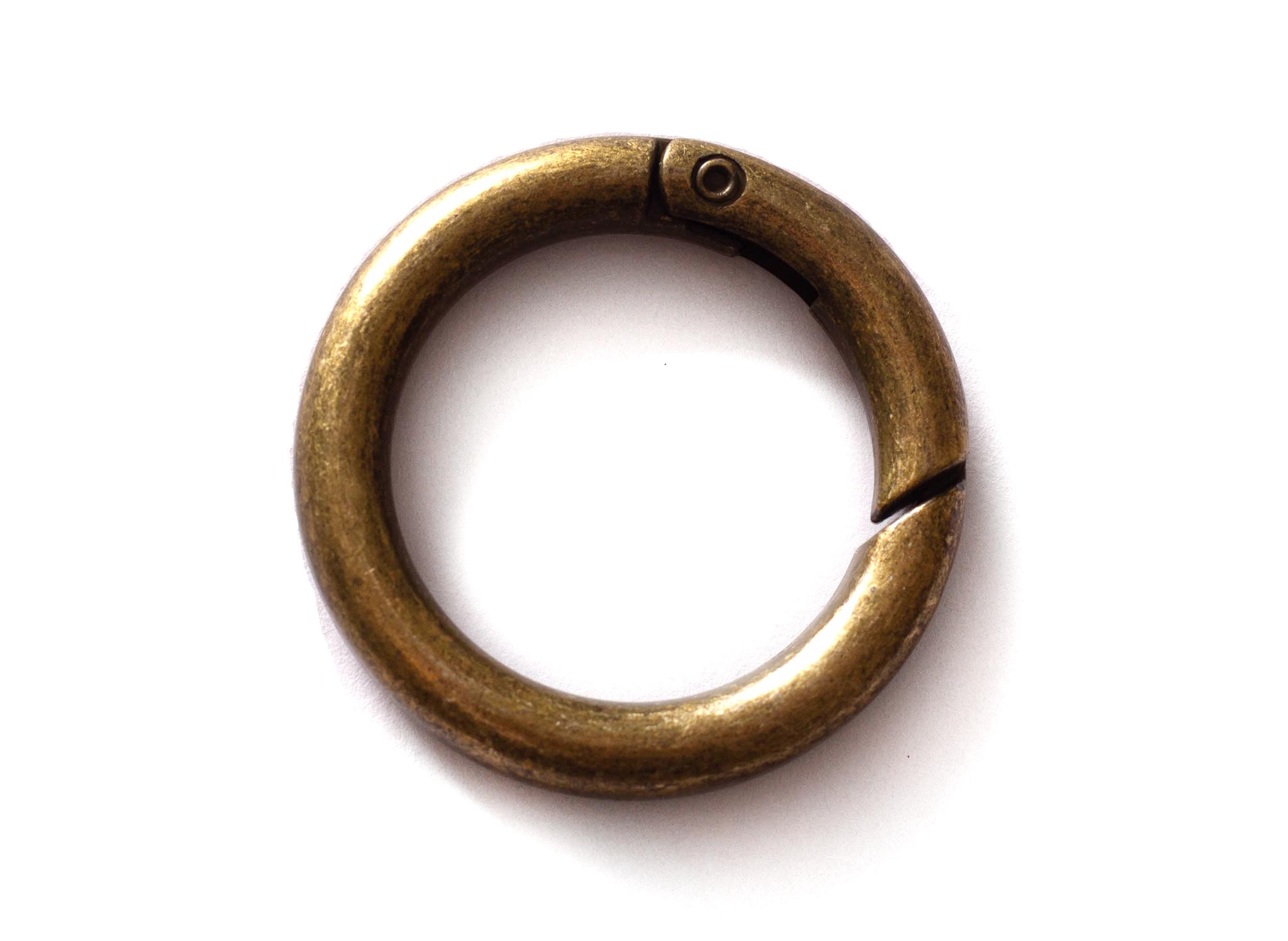 Кольцо-карабин 25 мм, состаренная латунь