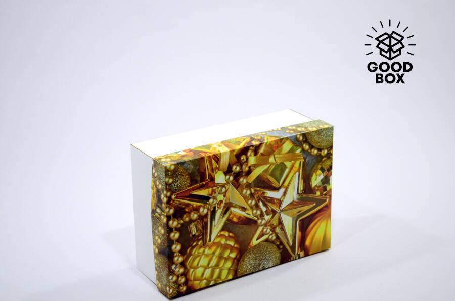 Золотая новогодняя подарочная коробка купить в Алматы