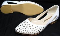 Білі балетки з гострим носком Evromoda 286.85 Summer White.