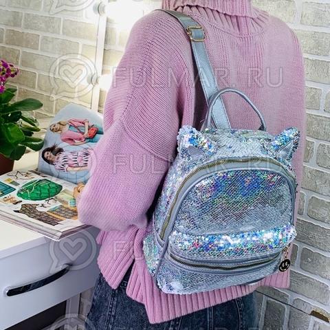 Рюкзак с кошачьими ушками в двусторонних пайетках Серебристый блестящий-Белый матовый