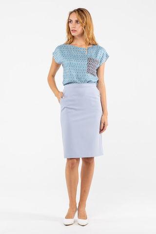Фото голубая классическая прямая юбка до колена - Юбка Б100а-705 (1)