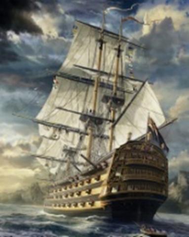 Картина раскраска по номерам 30x40 Парусный корабль  (арт. KTL0008)